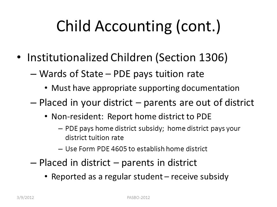 Child Accounting (cont.)