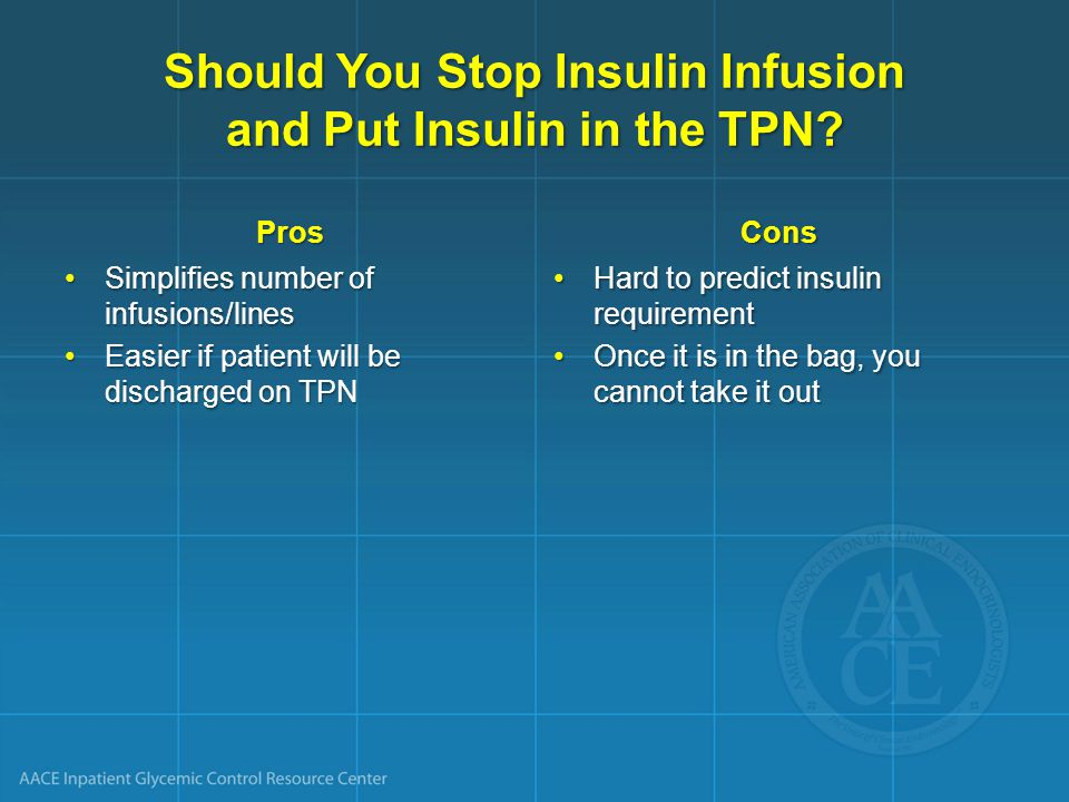 Should You Stop Insulin Infusion and Put Insulin in the TPN