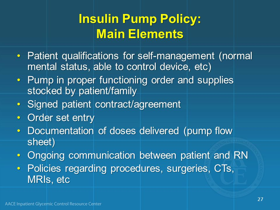 Insulin Pump Policy: Main Elements