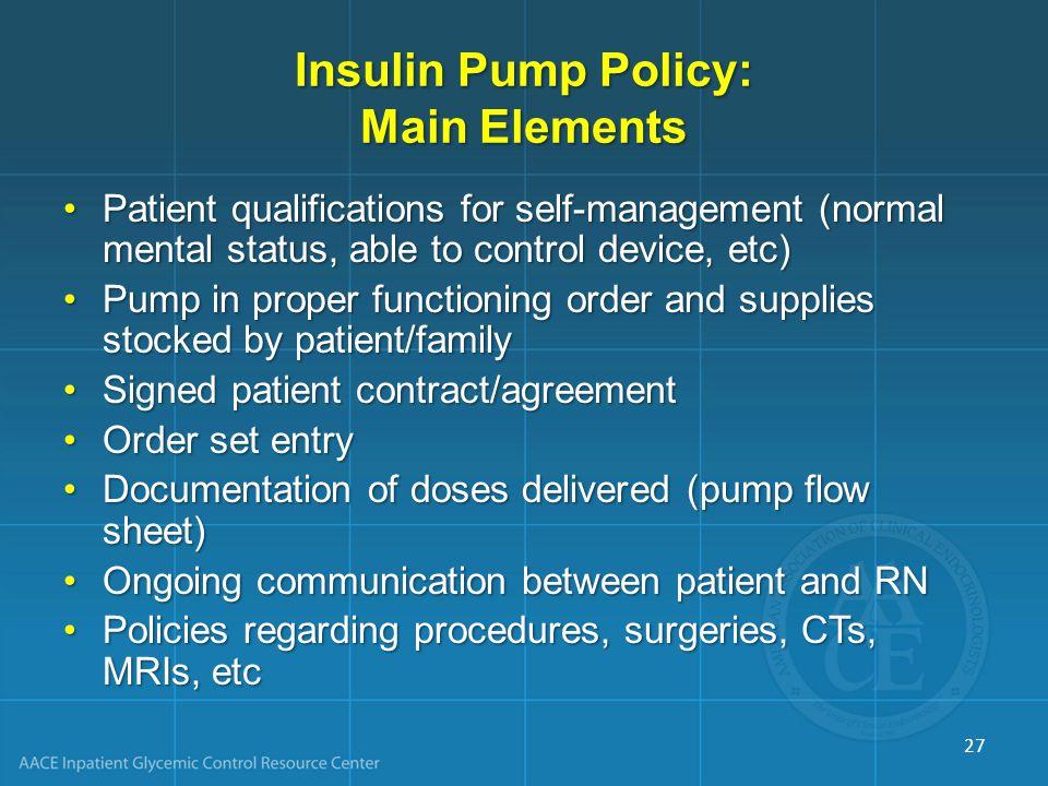 Insulin Pump Policy: Main Elements