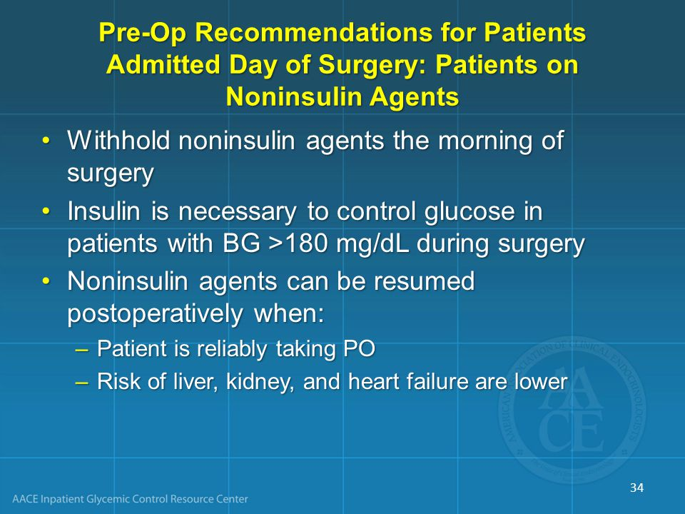 Withhold noninsulin agents the morning of surgery