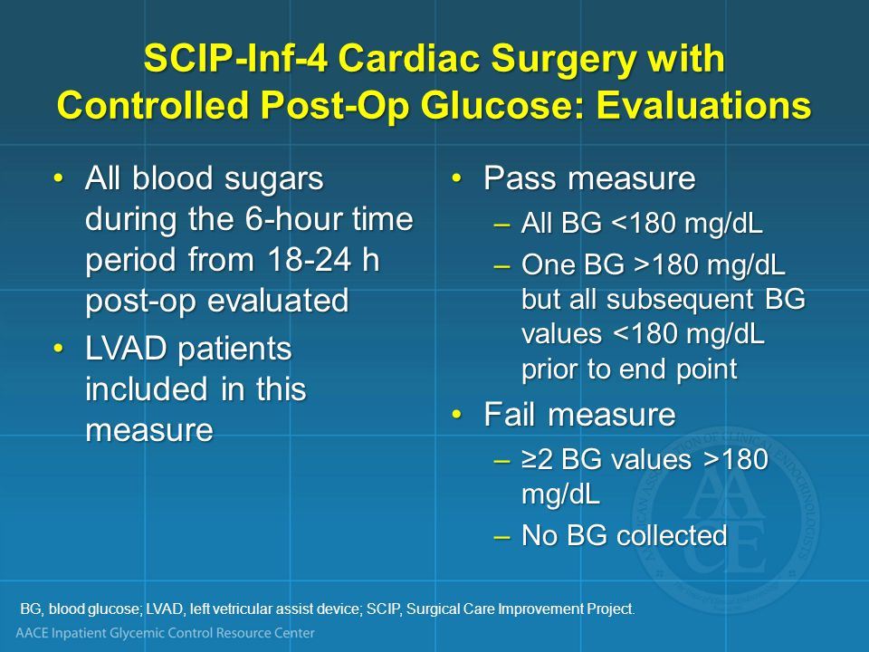 SCIP-Inf-4 Cardiac Surgery with Controlled Post-Op Glucose: Evaluations
