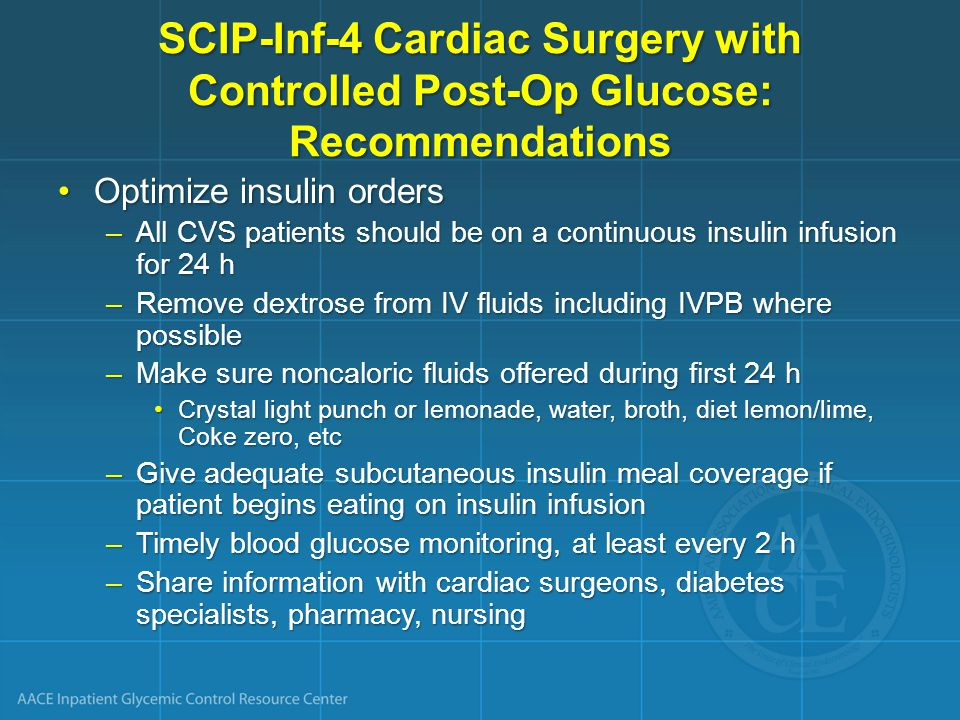 SCIP-Inf-4 Cardiac Surgery with Controlled Post-Op Glucose: Recommendations