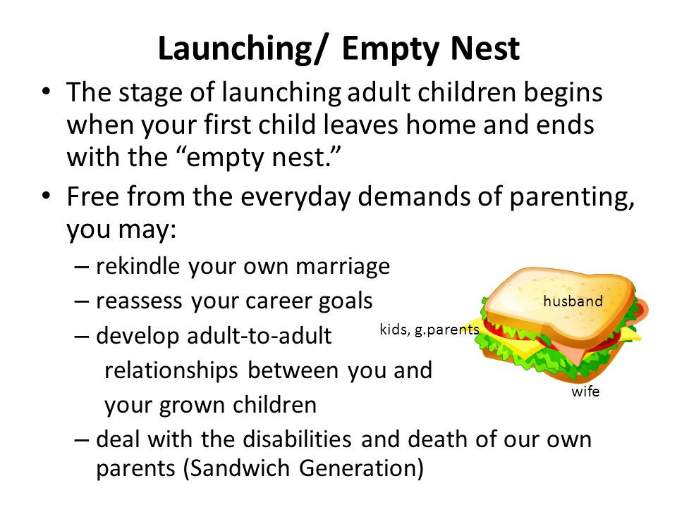 Launching/ Empty Nest The stage of launching adult children begins when your first child leaves home and ends with the empty nest.