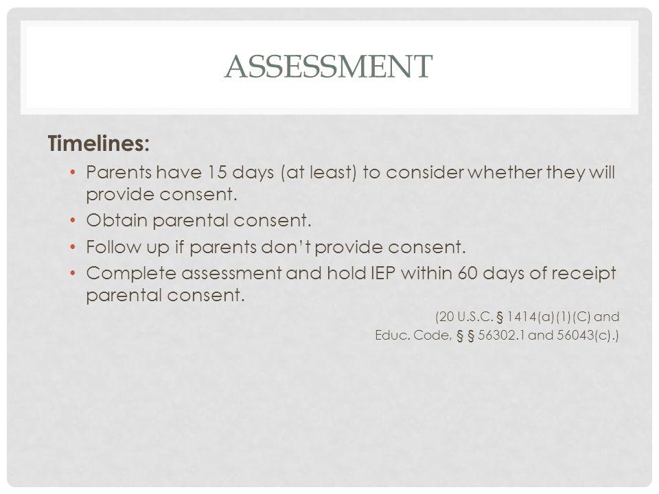 assessment Timelines:
