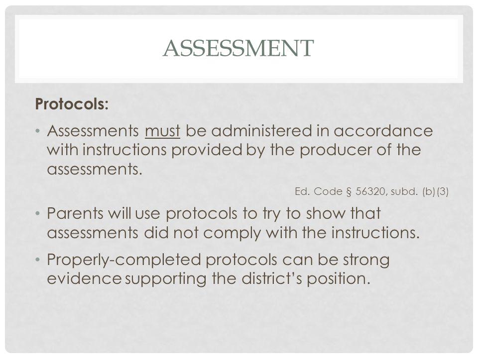 assessment Protocols: