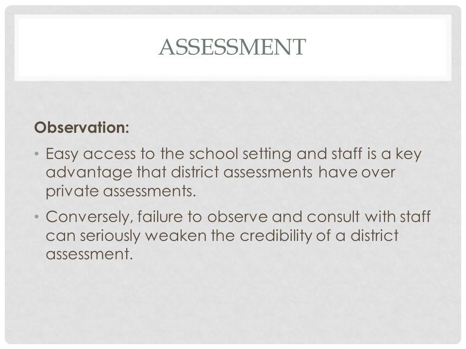 assessment Observation: