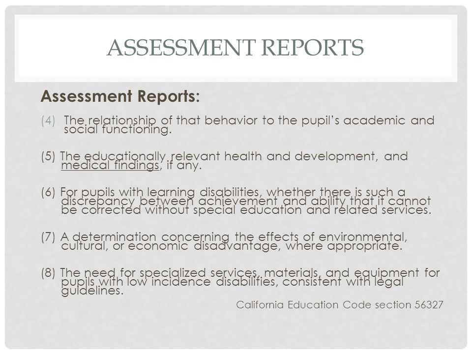 Assessment reports Assessment Reports: