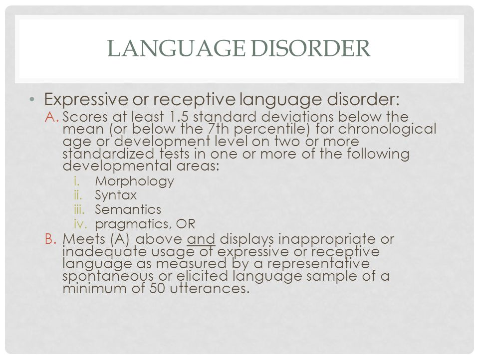 Language disorder Expressive or receptive language disorder: