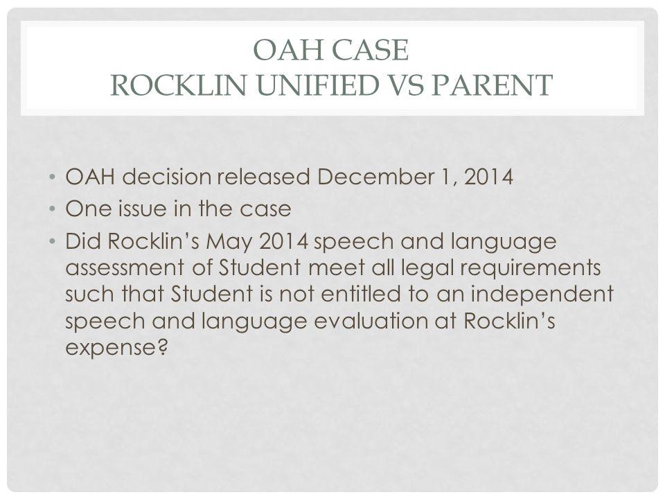OAH Case Rocklin Unified vs Parent