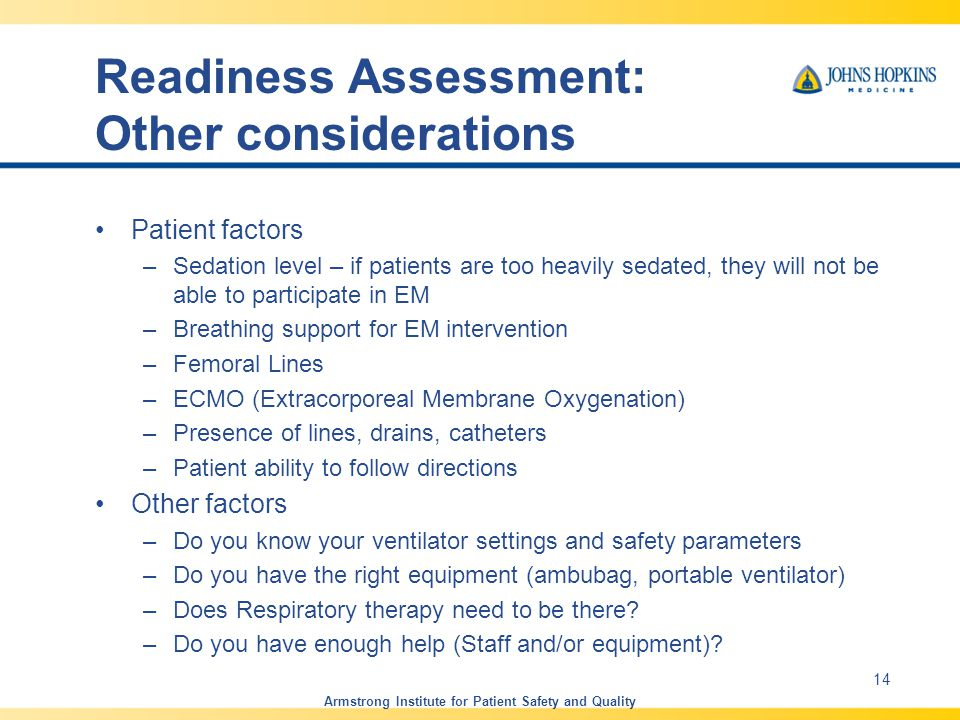 Readiness Assessment: Other considerations
