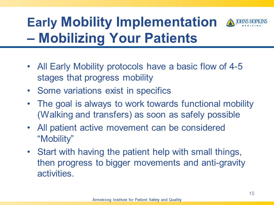 Early Mobility Implementation – Mobilizing Your Patients