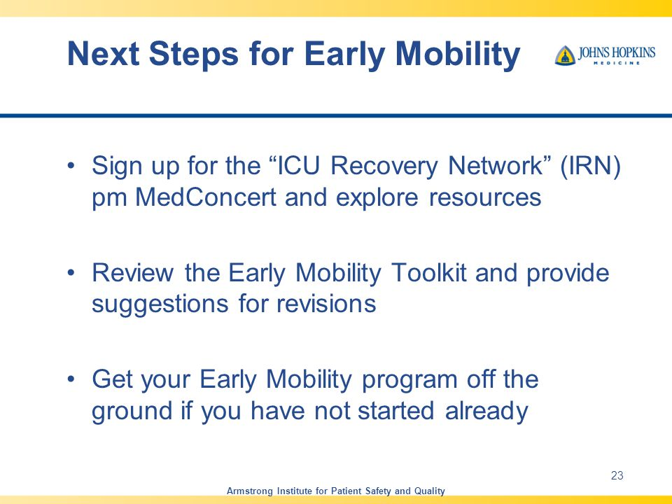 Next Steps for Early Mobility