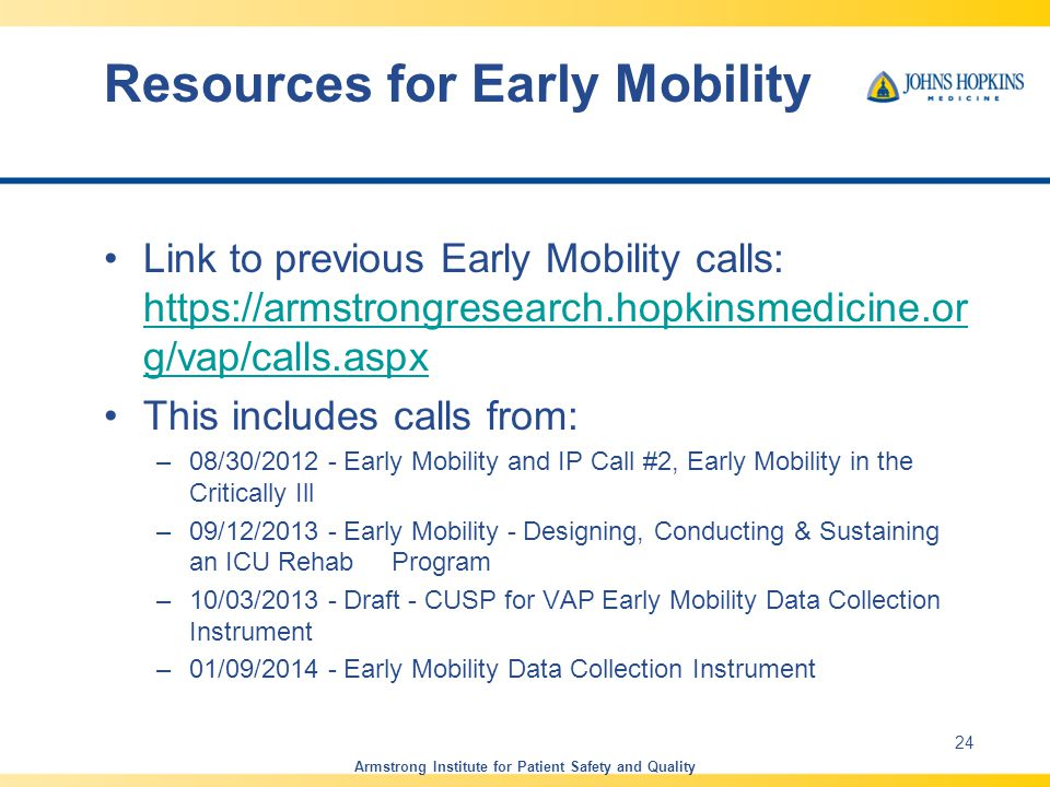 Resources for Early Mobility