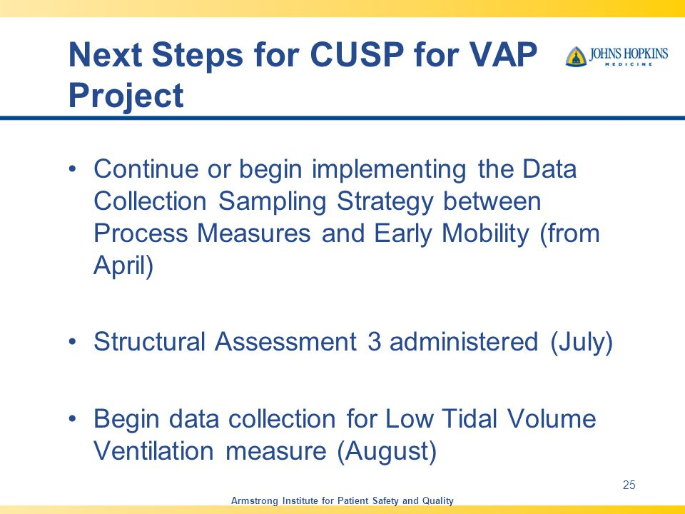 Next Steps for CUSP for VAP Project