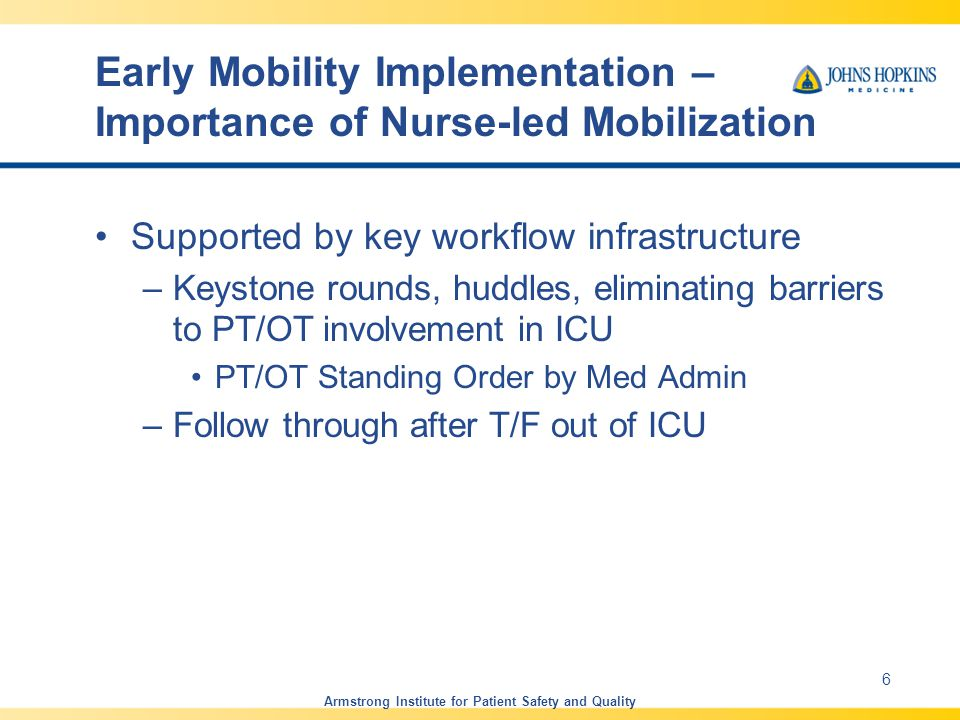 Early Mobility Implementation – Importance of Nurse-led Mobilization