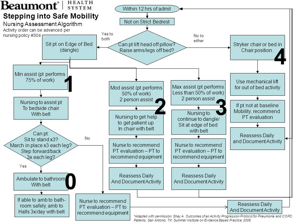 4 1 2 3 Stepping into Safe Mobility Nursing Assessment Algorithm