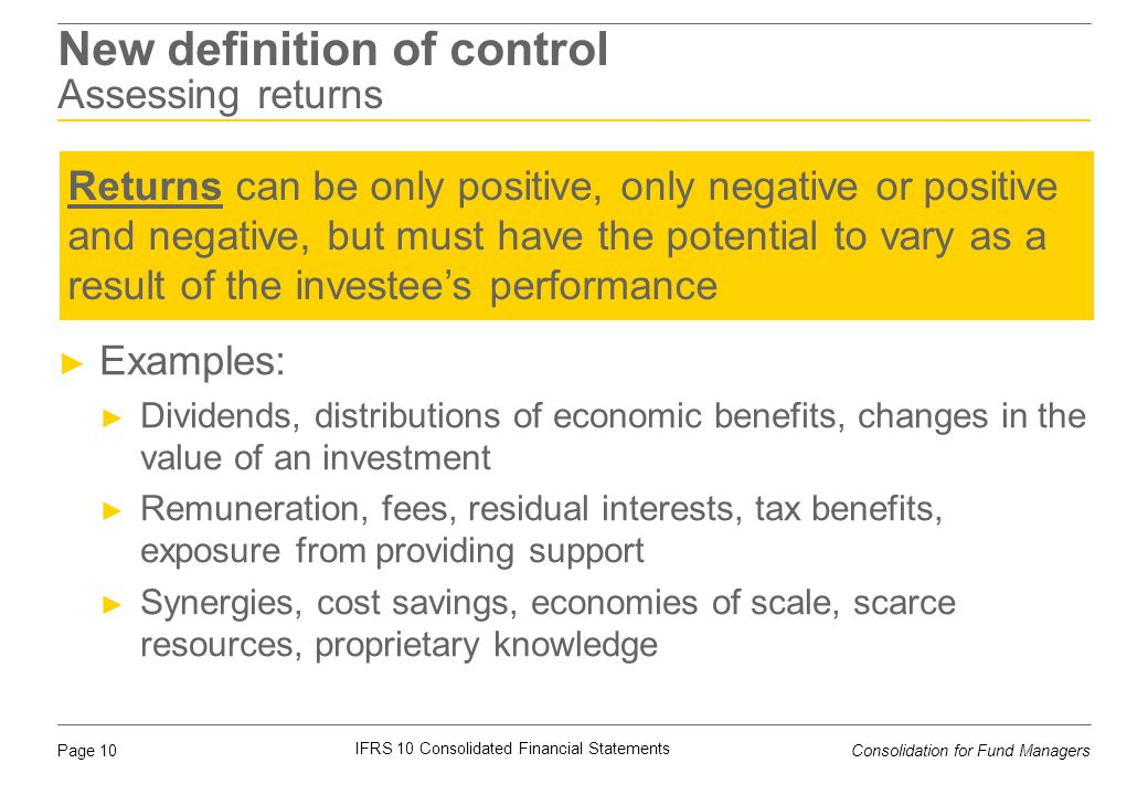 New definition of control Assessing returns