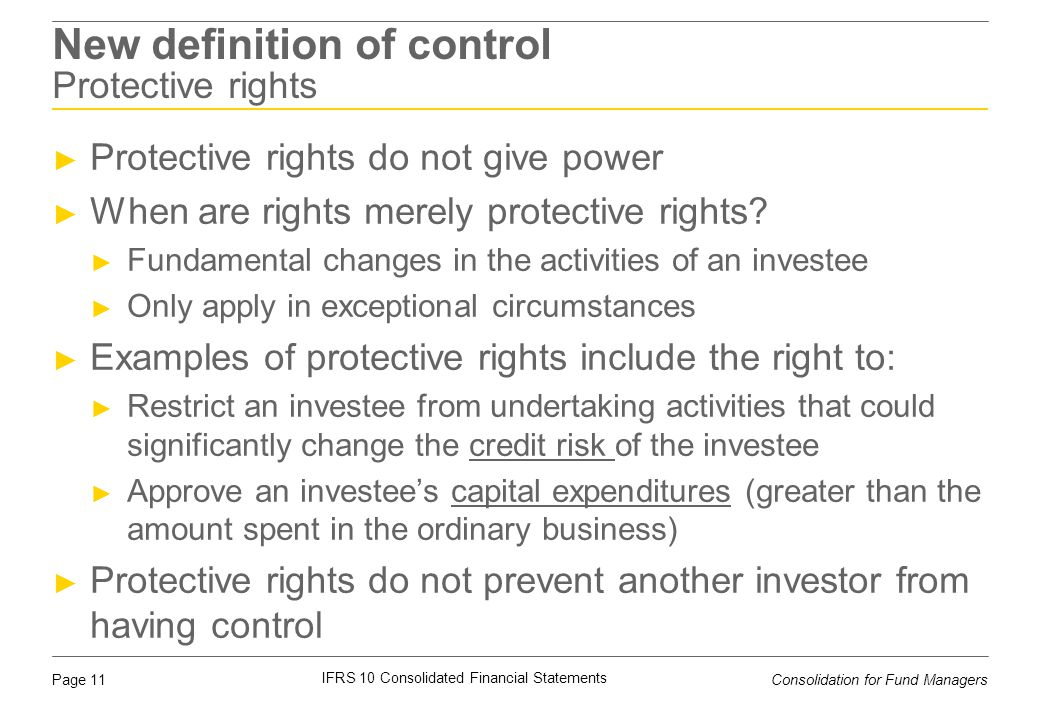 New definition of control Protective rights