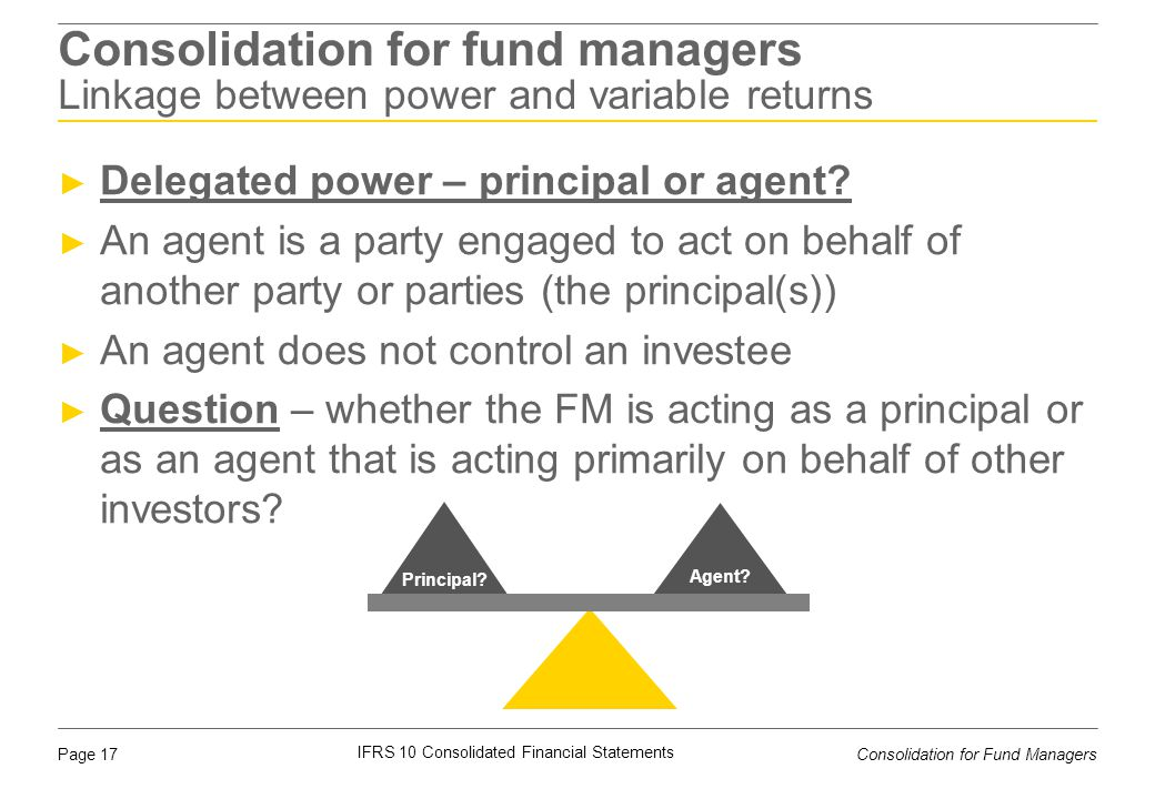 Consolidation for fund managers Linkage between power and variable returns