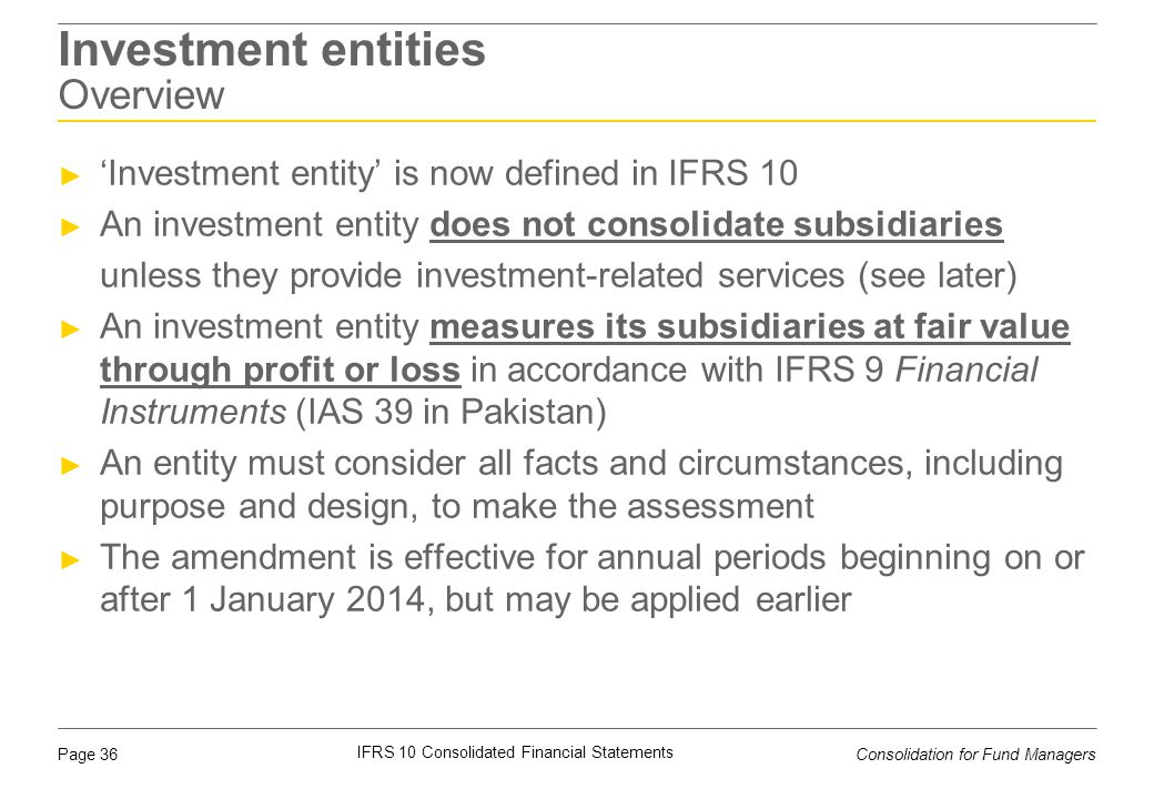 Investment entities Overview