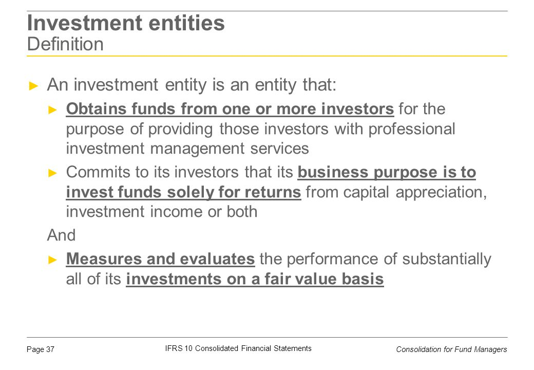 Investment entities Definition