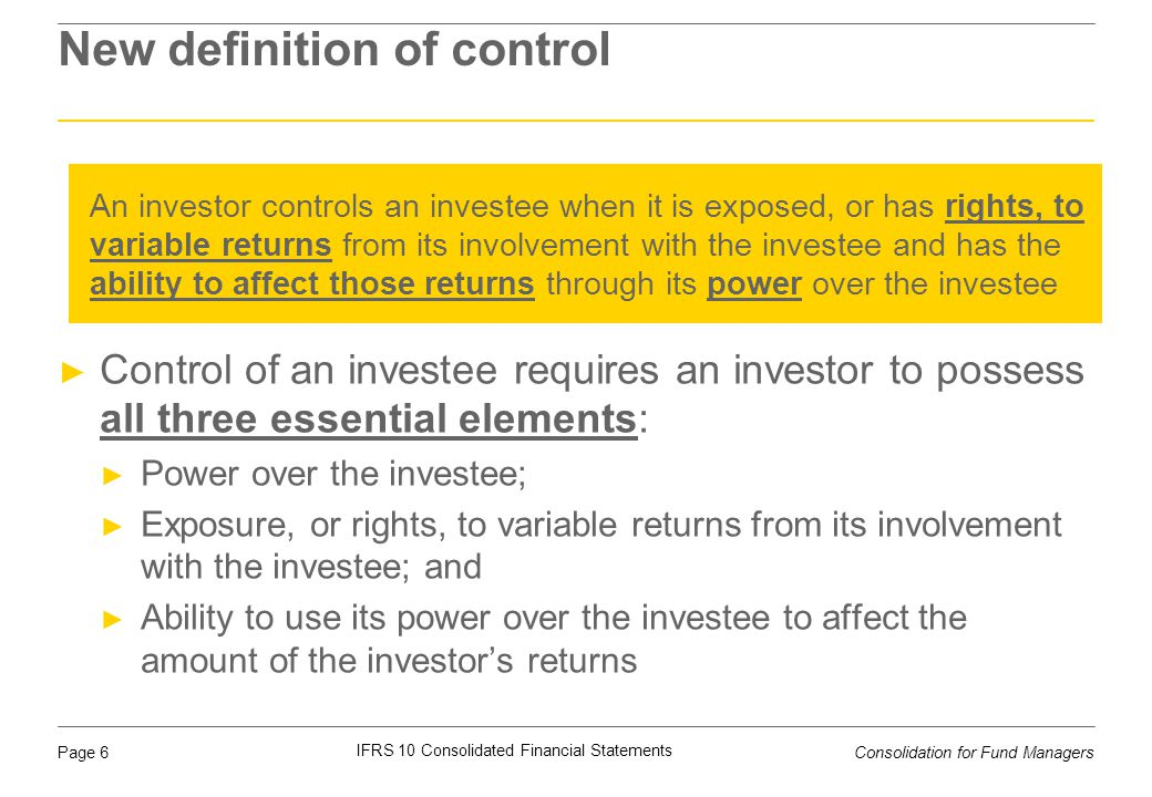 New definition of control