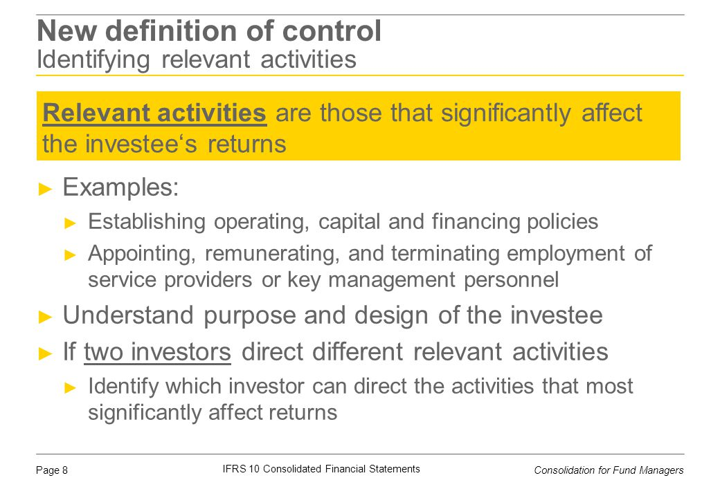 New definition of control Identifying relevant activities