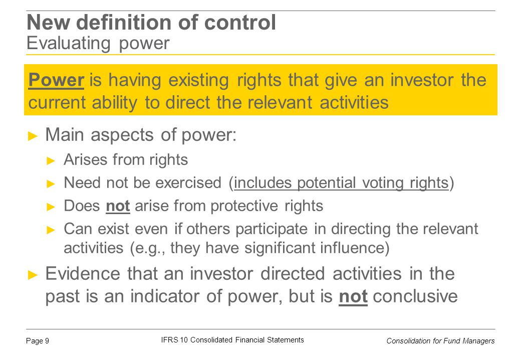 New definition of control Evaluating power
