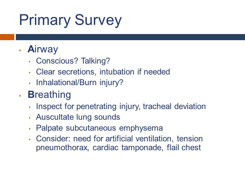 Primary Survey Airway Breathing Conscious Talking