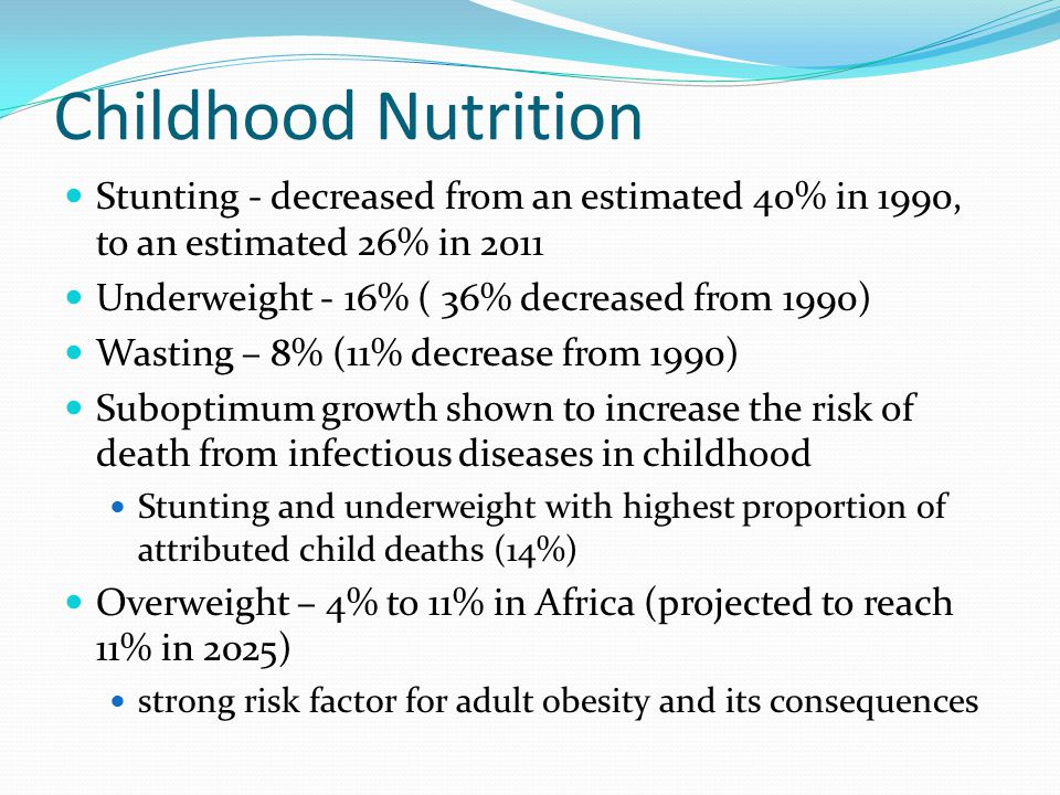 Childhood Nutrition Stunting - decreased from an estimated 40% in 1990, to an estimated 26% in 2011.