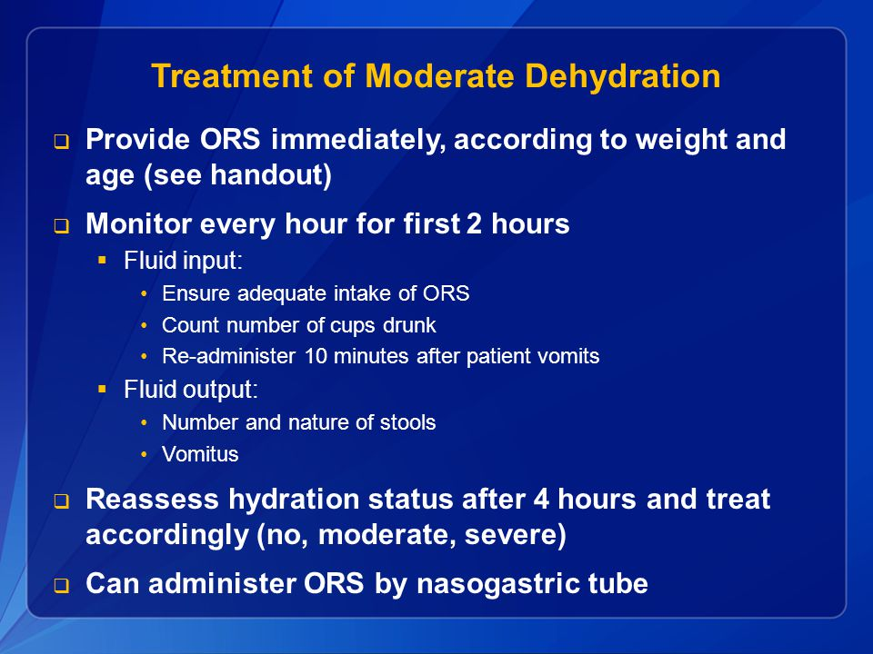Treatment of Moderate Dehydration