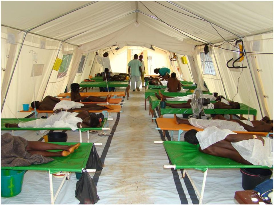 This is a photo of a cholera treatment center which can be used in an emergency, for clinical management of large numbers of patients.
