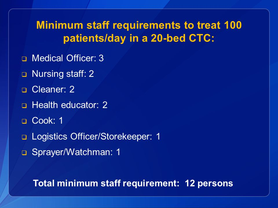 Minimum staff requirements to treat 100 patients/day in a 20-bed CTC: