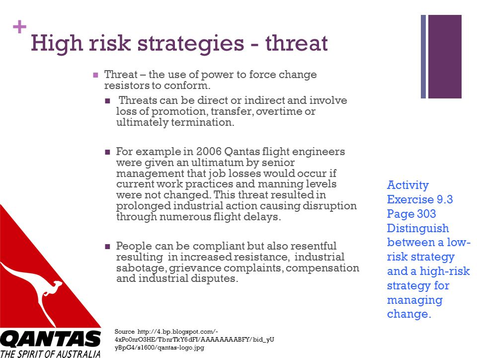 High risk strategies - threat