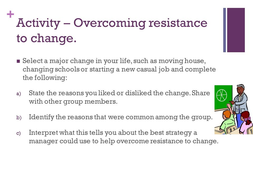 Activity – Overcoming resistance to change.