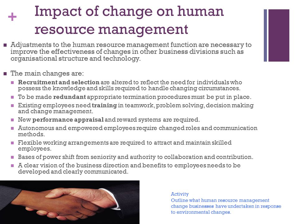 Impact of change on human resource management