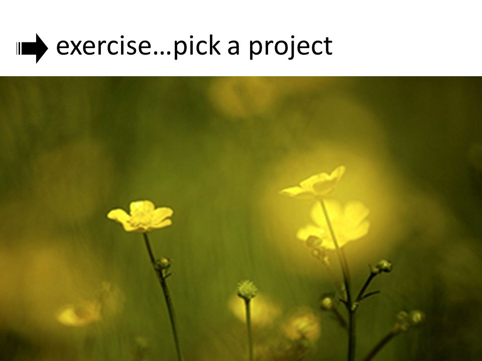 exercise…pick a project