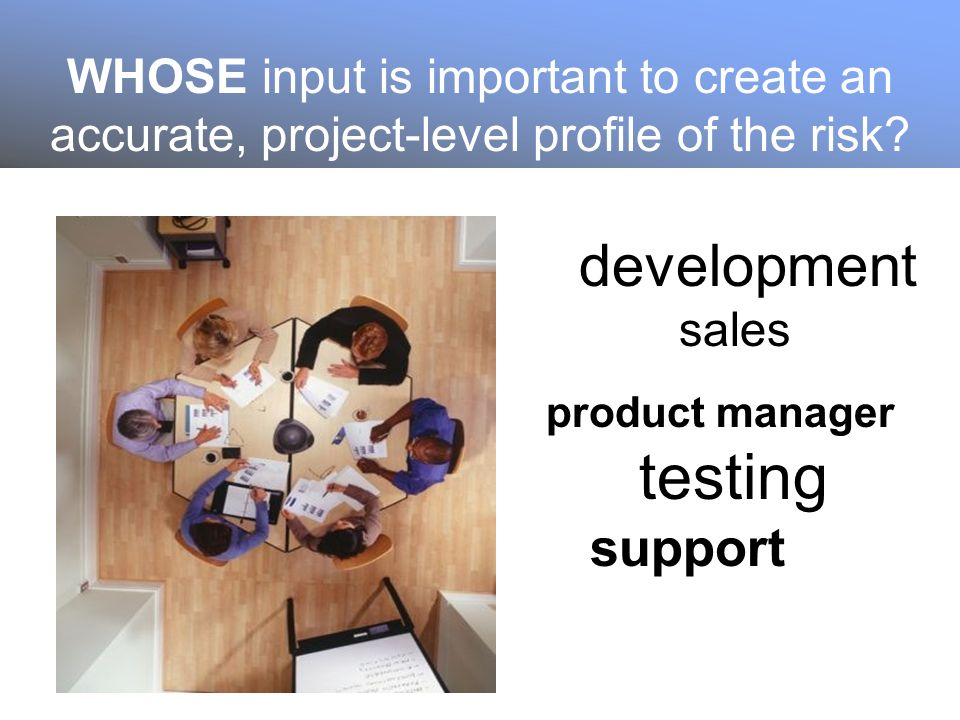 WHOSE input is important to create an accurate, project-level profile of the risk