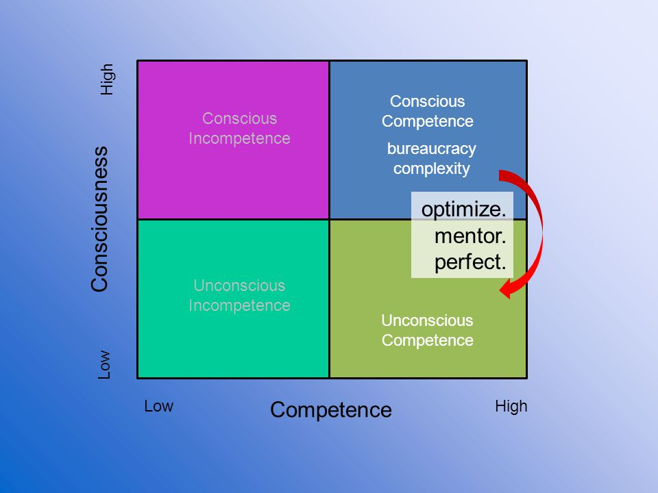 Consciousness optimize. mentor. perfect. Competence High Conscious