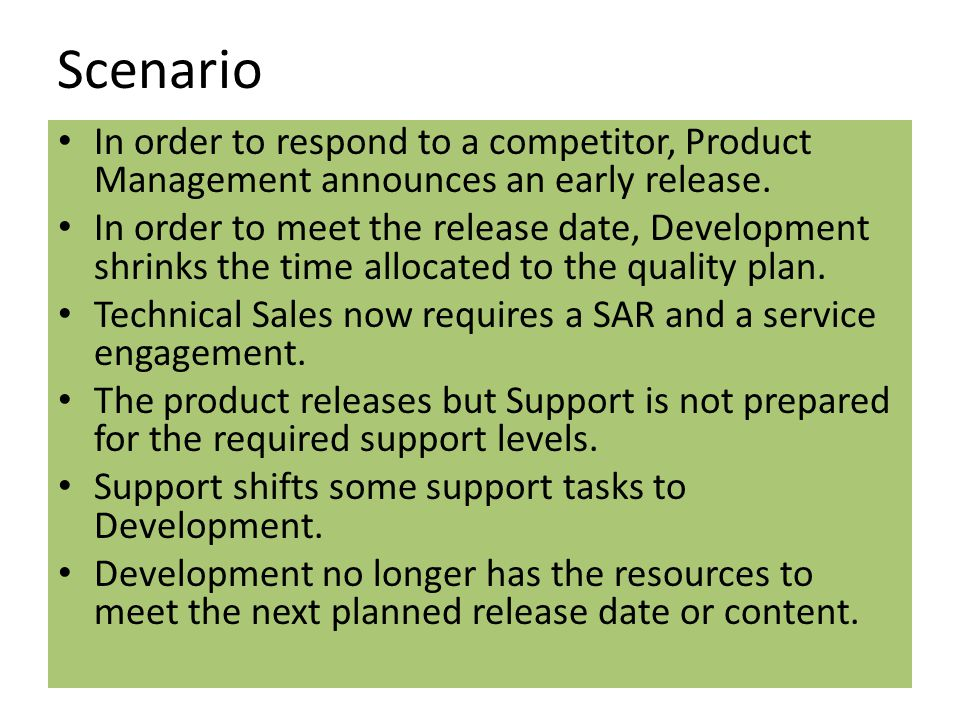 Scenario In order to respond to a competitor, Product Management announces an early release.