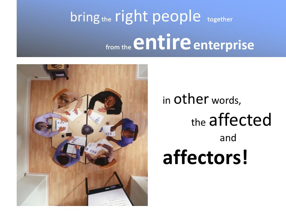 bring the right people together from the entire enterprise