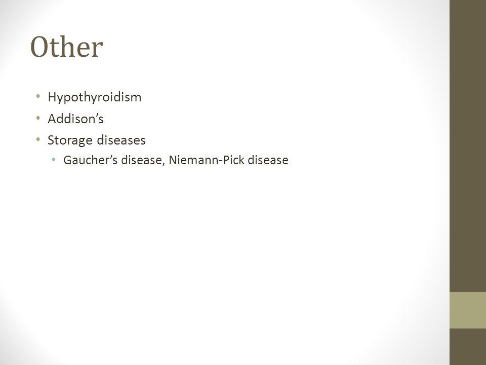Other Hypothyroidism Addison's Storage diseases