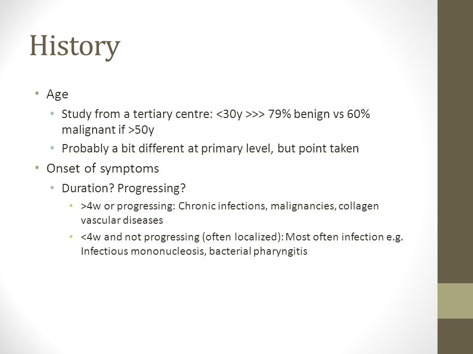 History Age Onset of symptoms