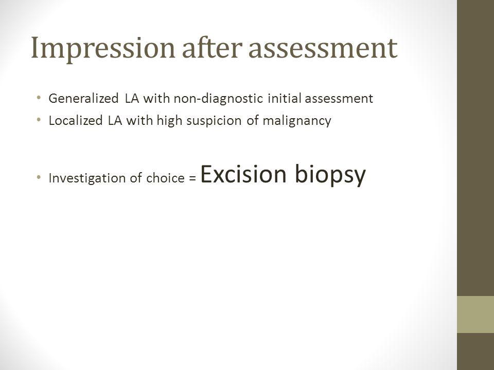 Impression after assessment