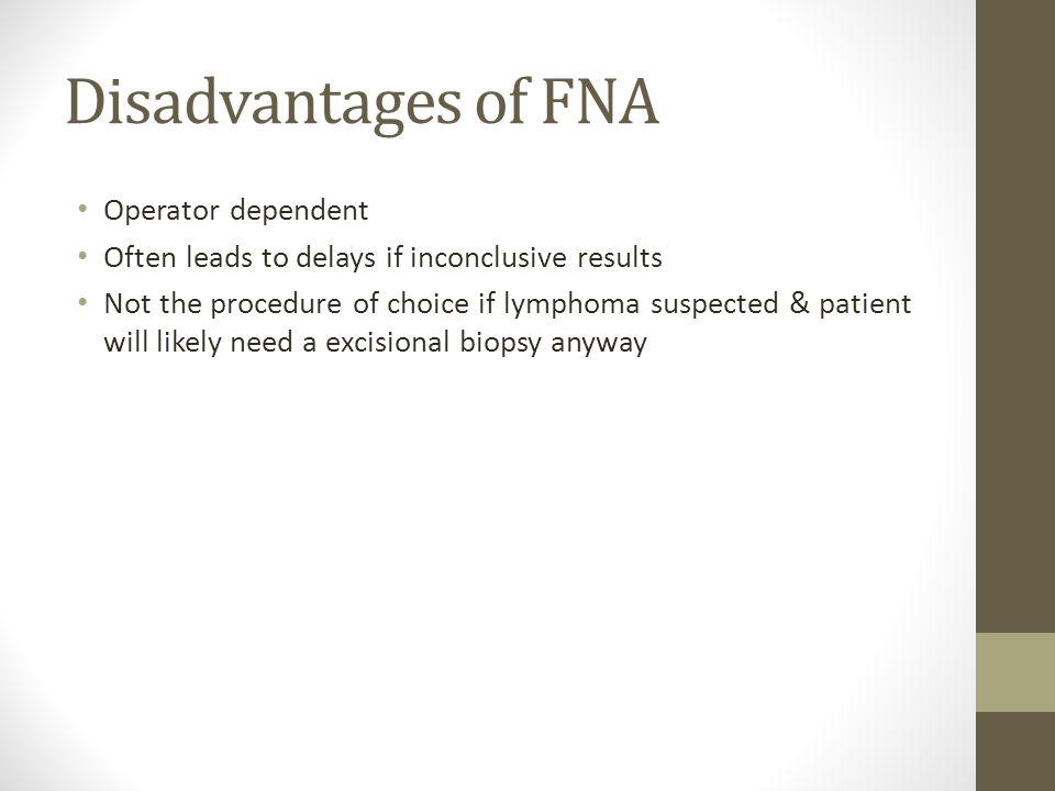 Disadvantages of FNA Operator dependent