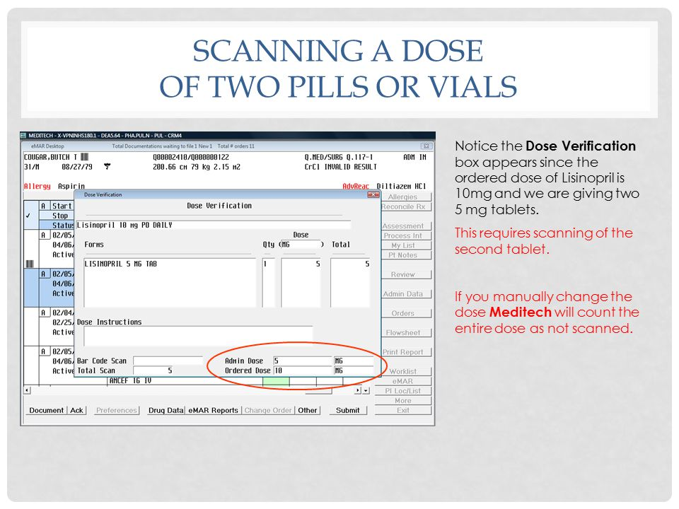 Scanning a dose of two pills or vials