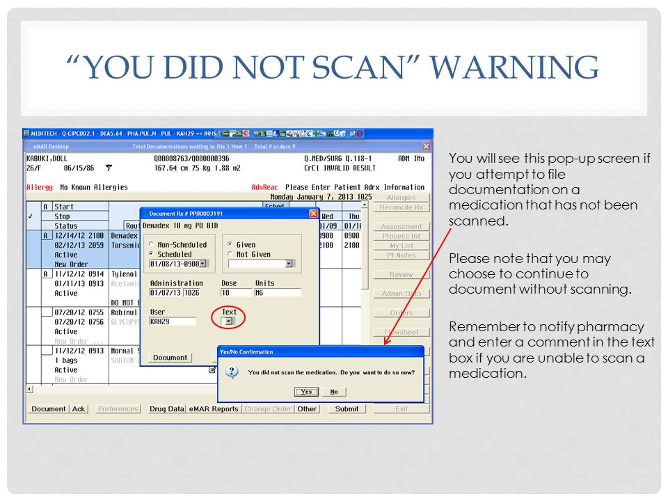 You did not scan warning
