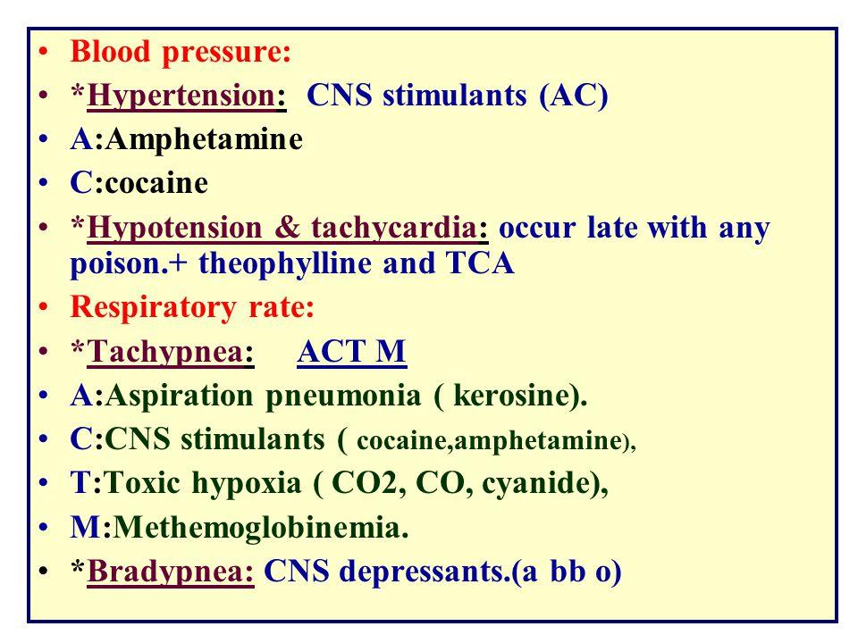 Blood pressure: *Hypertension: CNS stimulants (AC) A:Amphetamine. C:cocaine.