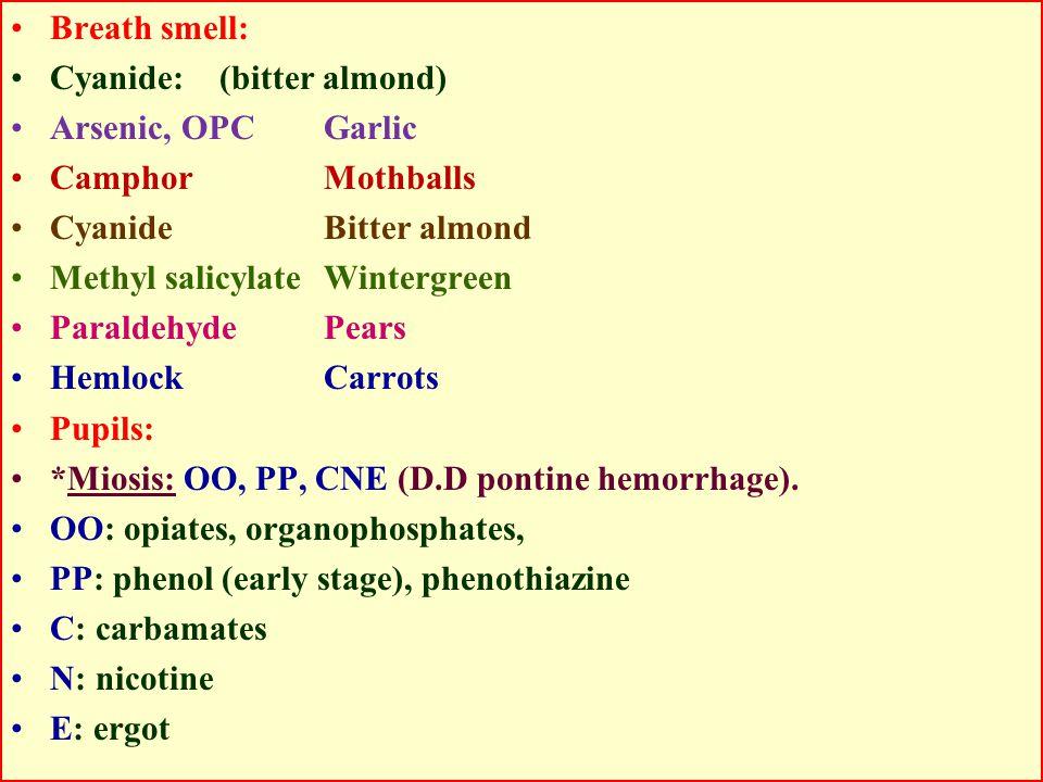 Breath smell: Cyanide: (bitter almond) Arsenic, OPC Garlic. Camphor Mothballs. Cyanide Bitter almond.
